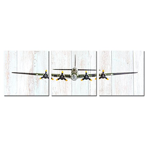 (Kreative Arts 3 Pieces Vintage Airplane B-17 Flying Fortress Wall Art Giclee Canvas Bomber Plane Canvas Prints Pictures Canvas Stretched and Framed Painting Retro Wood Style (16x16inchx3pcs))