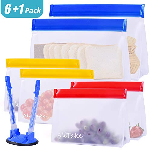 Reusable Storage Bags, Alitake Snack& Lunch Bags- Food Grade BPA Free Stand-Up Biodegradable Sandwich Bags with Bag Rack- Leakproof Ziplock Bag for Lunch, Snack, Household, Make-up Storage (6+1PACK)