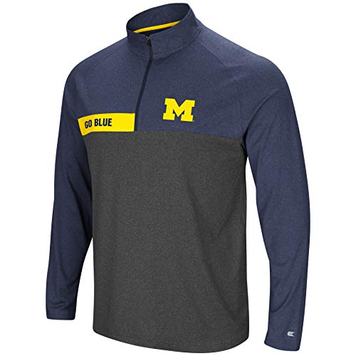 - Colosseum Men's NCAA-No Mercy-1/4 Zip Pullover Windshirt-Michigan Wolverines-Heather Blue-Large