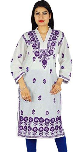 Casual Top túnica de regalo para ella diseñador Chikan bordado Kurta Mujeres Kurti White-1