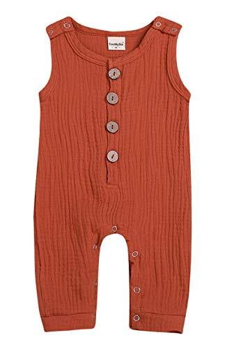 Mini honey Infant Toddler Baby Girls Boys Navy/Brown Button up Sleeveless Romper Jumpsuit Shorts Summer Outfit Clothes (12-18 Months, Orange 01)