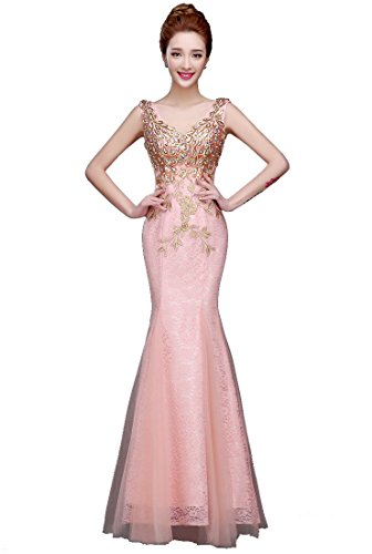 Abendkleider Lange Pink Emily Nixe Partei Stickerei Beauty Spitzen Maxi Strass gwvqT8