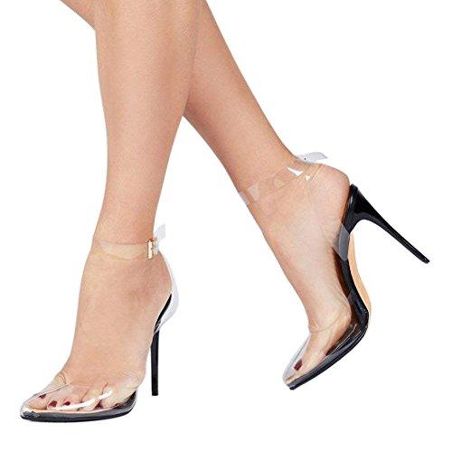 f6c9abe36e569 Cdvintu Women Pointed Toe Transparent High Heels Lucite Clear Dress Sandals  Ankle Strappy Bukle Stilettos (7, Black)