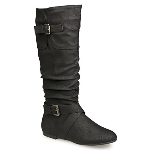 Black Buckle Strapped Riding Boots Faux Leather gAIpCKSS