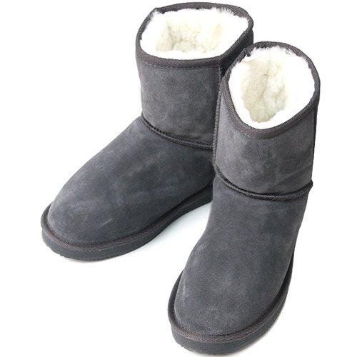 Nye Søte Skinn Shearling Womens Vinter Snø Varme Støvler Grå