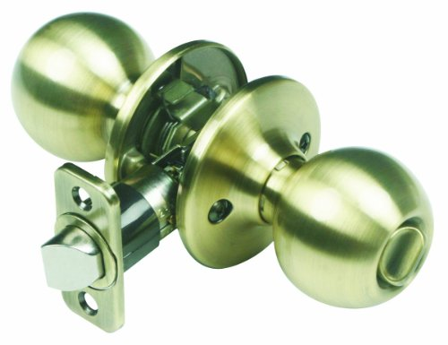 Design House 753996 Ball 2-Way Latch Privacy Door Knob, Adjustable Backset, Antique Brass Finish