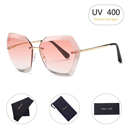 WISH CLUB Oversized Fashion Rimless Sunglasses for Women Hexagonal Flat Lens Frameless Rimmed Eyewear for Girls UV Transparent Glasses - Rimless Fashion Sunglasses