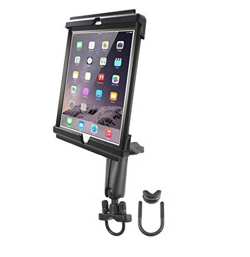 Heavy Duty Long Arm Motorcycle Bike Mount Holder Kit fits Apple iPad Air 1 & 2 w/LifeProof & Otterbox Cases Samsung Galaxy Tab A 9.7 & Tab S2 9.7 w/Case, Skin or Sleeve