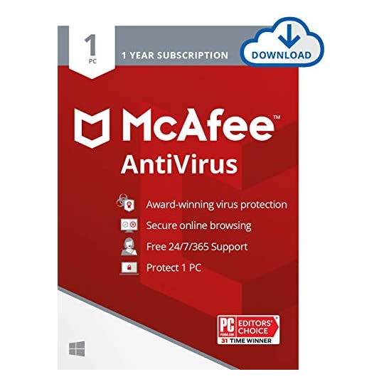 McAfee AntiVirus Protection 2021, 1PC, Internet Security Software, 1 Year – Download Code