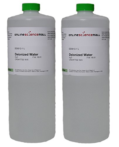2L of Deionized Water - Two 1000mL Bottles of Purified Water