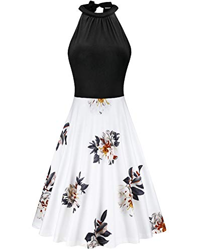 OUGES Women's Stand Collar Off Shoulder Sleeveless Cotton Casual Dress(Floral06,M) (Sleeveless Cotton Shoulder)