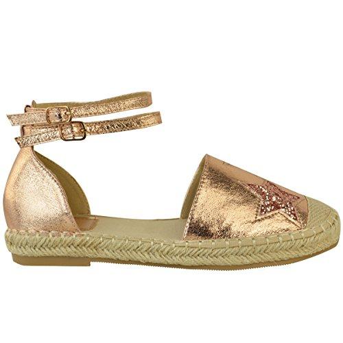 Fashion Thirsty Plano Mujer Alpargatas Oro Rosa Sandalias Tobillo Tiras Zapatos Verano Números Oro Rosa Metálico ARRUGADO