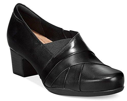 CLARKS Women's Rosalyn Adele, Black Leather, 8 2A - ()