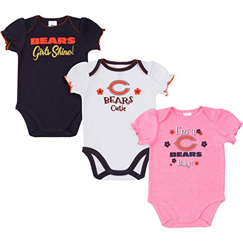NFL Chicago Bears Baby-Girls 3-Pack Short Sleeve Bodysuits, Pink, 6-12 Months