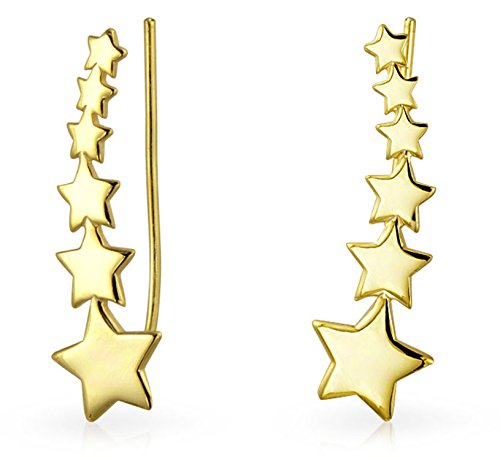 USA Patriotic Shooting Star Ear Pin Climbers Earrings For Women Wrap Crawlers 14K Gold Plated 925 Sterling Silver