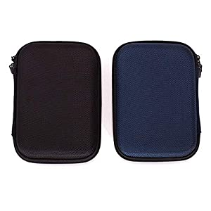 Ginsco Hard Carrying Case for Portable External Hard Drive Toshiba Canvio Basics Seagate Expansion WD Elements (2pcs(Black+Blue))