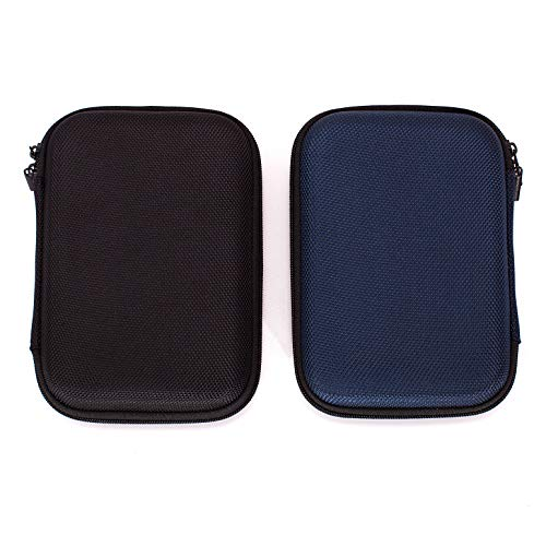 Ginsco 2-Pack (Black & Blue) Hard Carrying Case for Portable External Hard Drive Toshiba Canvio Basics Seagate Expansion WD Elements ()