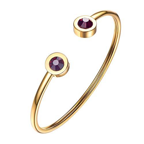 PROSTEEL June Birthstone Alexandrite Cuff Bracelet 18K Gold Plated Purple Crystal Bangle Bridesmaid Girls Women Jewelry Birthday Gift