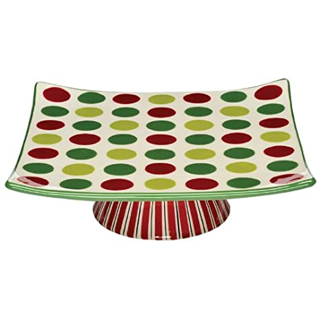 caffco mb833255 mbagwell simply christmas collection square ceramic cake stand