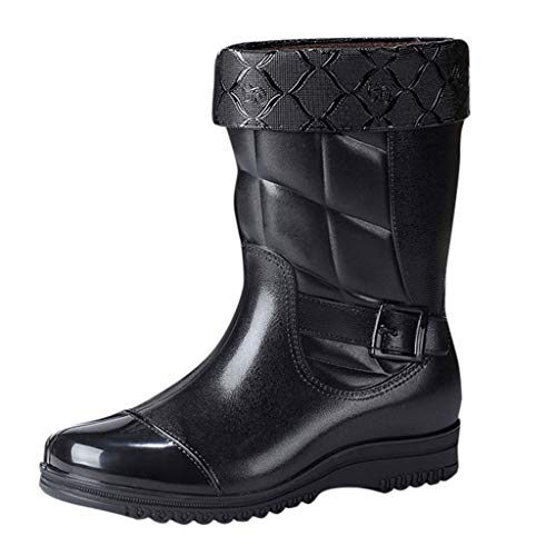 Xinantime Men Waterproof Snow Rain Boots Anti-Slip PVC Black Adult Outdoor Work Rubber Boots