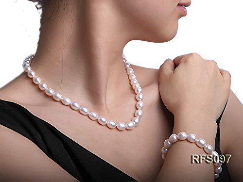 JYX 8-9mm White Freshwater Pearl Necklace and Bracelet Set for (White Rice Freshwater Pearl Beads)