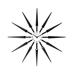 Infinity Instruments Black Celeste Mid Century Modern Unique Cool Wall Clock 24 inch