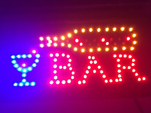 LED Bar Sign - Open Bar Led Neon Motion Light Sign. On/off with Chain (Sign Neon Flashing Bar)