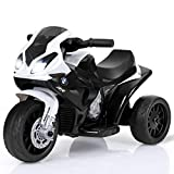 Costzon Kids Ride on Motorcycle, 6V Battery Powered 3 Wheels Motorcycle Toy for Children Boys & Girls, Electric Ride on Motorcycle w/Headlights Μsic, Pedal (Black)