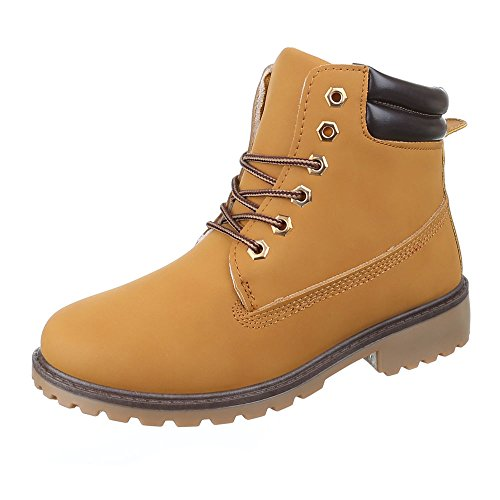 Ital-Design Women's Combat Boots Camel BmlxC0DZy