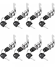 Cabinet Cam Lock Set,8 Pack Cylinder Cam Locks Secure Mailbox File Drawer Dresser RV Compartment Lock Tool Box Replacement Hardware, Chrome-Finish Zinc Alloy (5/8inch-8Pack)