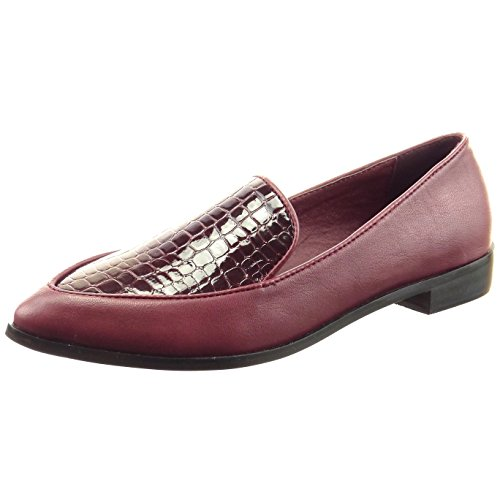 Sopily - Scarpe da Moda Mocassini ballerina alla caviglia donna pelle di serpente verniciato Tacco a blocco 2.5 CM - Rosso