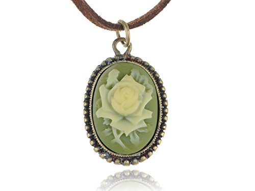 Green Enamel Rose - Alilang Antique Golden Tone Vintage Faux Suede Green Enamel Rose Oval Pendant Necklace
