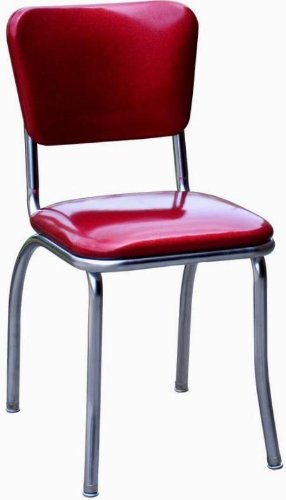 Richardson Seating Retro 1950s Chrome Diner Side Chair In Glitter Sparkle  Red