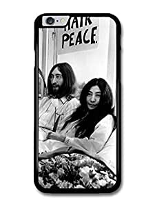 """AMAF ? Accessories John Lennon and Yoko Ono Black and White Hair Peace case for iPhone 6 Plus (5.5"""")"""