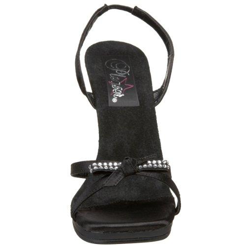 Pleaser Chic-38 - Sandalias con correa de tobillo Mujer Blk Satin/Blk