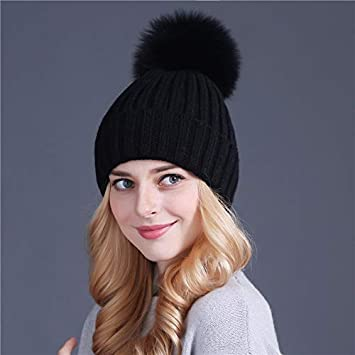 9f65a292eb184 Amazon.com  HOKUGA mink and fox fur ball cap pom poms winter hat for ...