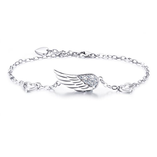 (Billie Bijoux 925 Sterling Silver Women Angel Wing Adjustable Chain Bracelet Diamond White Gold Plated Bracelet Women Gift for Women Girls Valentine's Day (Style)