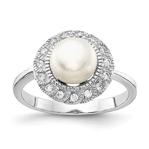925 Sterling Silver Cubic Zirconia Cz White Freshwater Cultured Pearl Band Ring Size 7.00 Fine Jewelry Gifts For Women For Her