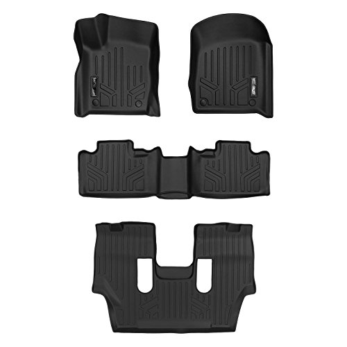 MAX LINER A0315/B0071/C0233 Custom Fit Floor Mats 3 Liner Set Black for 2016-2019 Dodge Durango with 2nd Row Bucket Seats
