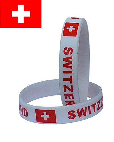VEWCK Flag Silicone Bracelet Classic Bangle Letter pattern 40 countries 2-Pack (Country Flag Silicone Bracelets)