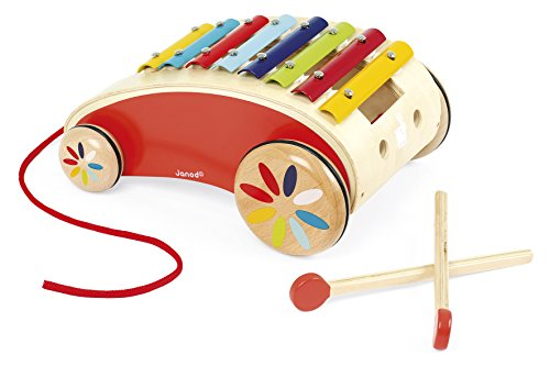 Janod Tatoo Xylo Roller - Musical Rolling Wooden Xylophone Pull-Along Toy -Encourages Creativity and Motor Skills - 18 Months (Best Sounding Toy Piano)