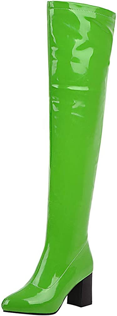 Bellirala Womens Pointy Patent Leather Thigh High Block Heel Over The Knee Boots Zip Up