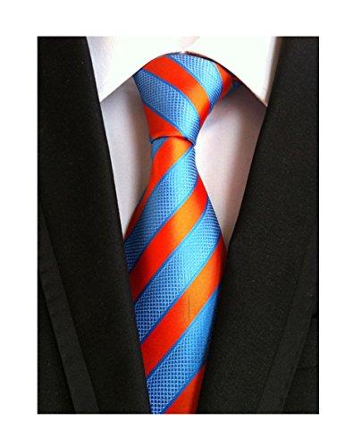 Secdtie Men's Blue Orange Striped Jacquard Woven Silk Tie Formal Necktie LUD36