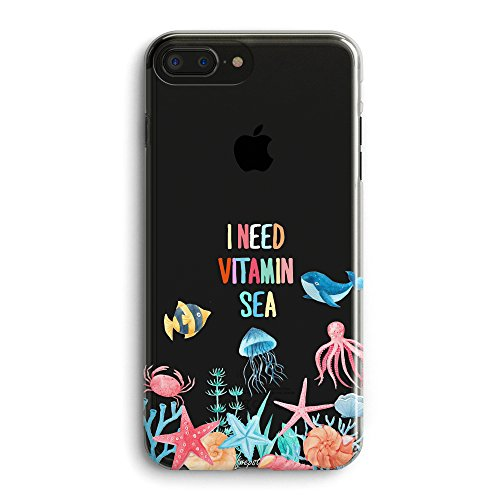 iPhone 5s Case,iPhone SE Cute Case,Girls Seaworld Tropical Beach Whale Starfish Saying I Need Vitamin Sea Blue Ocean Anemone Fish Shells Octopus Summer Clear Rubber Case for iPhone 5s SE (Iphone 5s Case Beach Quotes)
