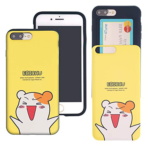 (iPhone 8 Plus/iPhone 7 Plus Case ORUCHUBAN EBICHU Slim Slider Cover : Card Slot Shock Absorption Dual Layer Holder Bumper for [ iPhone 8 Plus/iPhone 7 Plus ] Case - Ebichu Cheer)