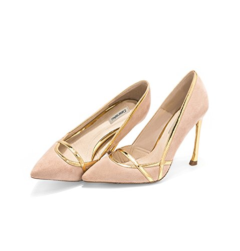 Girl Vintage Pointed-Toe High Heels Sexy Suede Material Bridesmaid Shoes Elegant 10cm Wedding Shoes, Comfortable Shallow Mouth Shoes (Color : Beige, Size : 38)