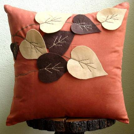"The HomeCentric Handmade Rust Decorative Pillows Cover, Leaf Felt Applique Tropical Theme Pillows Cover, 18""x18"" Pillows Cover, Square Faux Suede Pillows Covers for Couch, Floral - Spring Leaves"