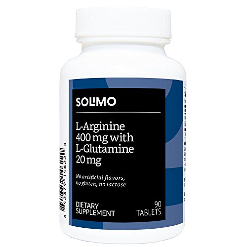 Amazon Brand - Solimo L-Arginine 400mg with L-Glutamine 20mg, 90 Tablets, One Month Supply
