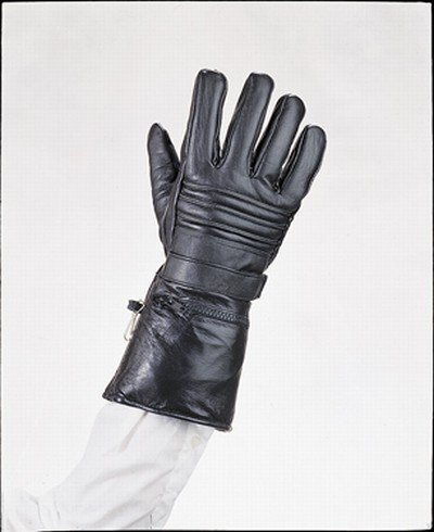 Mens Leather Motorcycle Winter Gloves w/ Rain Cover In Zippered Gauntlet Large GL2066