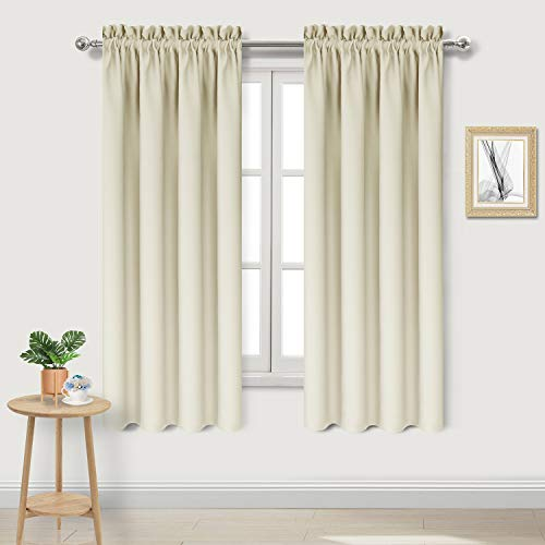 DWCN Blackout Curtains Room Darkening Thermal Insulated Bedroom Curtains Window Curtain Panels, 42 x 63 inch Long, Set of 2 Beige Rod Pocket Drapes ()